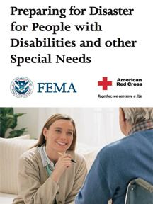 "Image shows a FEMA publication with the words ""Preparing for Disaster for People with Disabilitie"