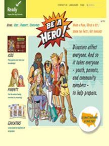 "Image shows a publication for kids ""Be A Hero"" from ready.gov"