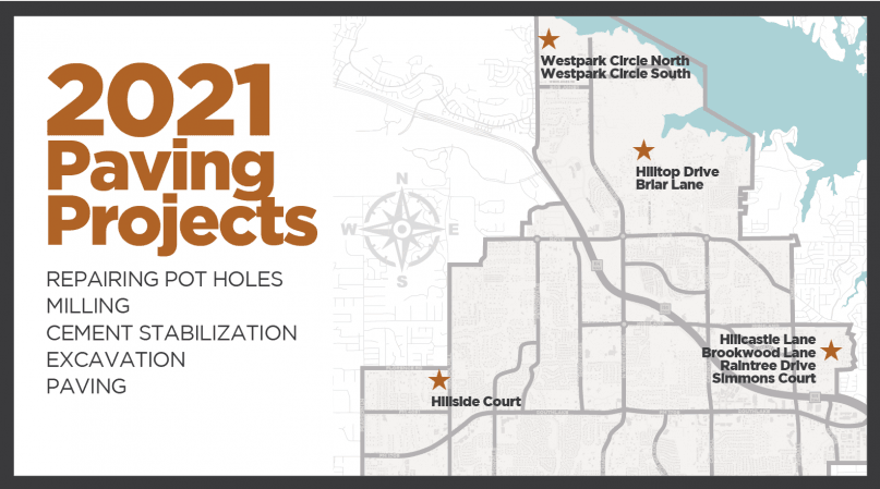 Map where paving projects are scheduled